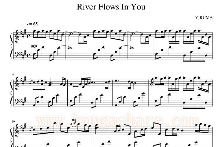 Download River Flows In You piano music sheet in PDF_kongashare.com_mh