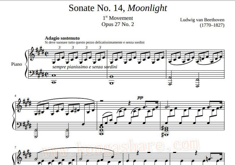 Download Moonlight Sonata Piano Music sheet_kongashare.com_mmn