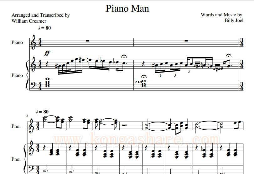 Download Piano Man Sheet Music (C Major) by Billy Joel_kongashare.com_mmn