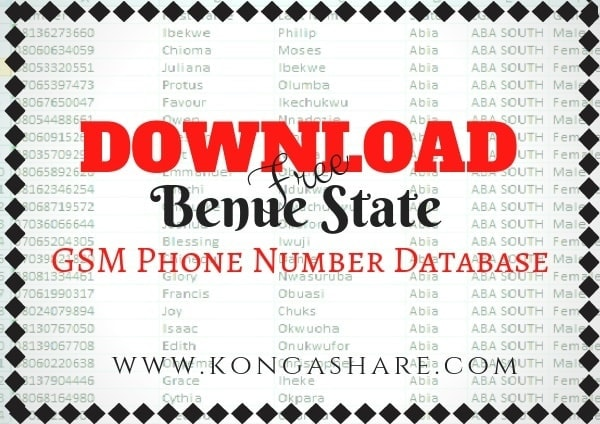 Download Free Benue State GSM Phone Number Database kongashare