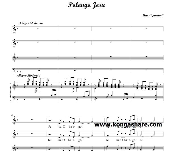 Download Polongo Jesu Sheet Music | Yoruba music sheet