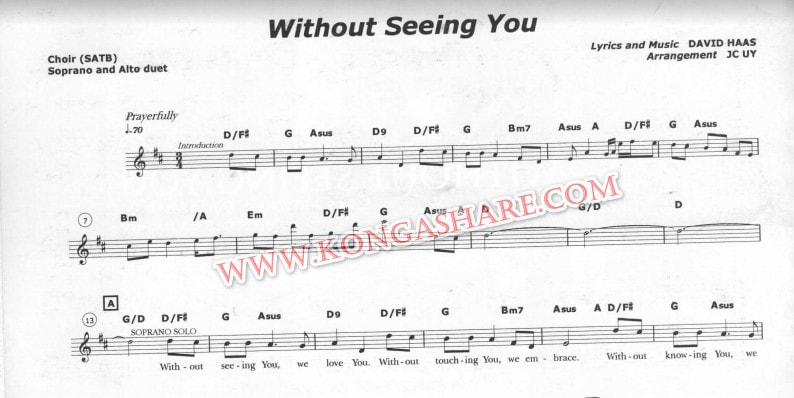 Without Seeing You sheet music (Score, Lyrics) in PDF and MP3