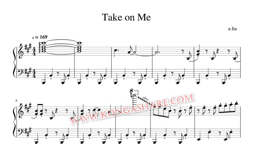 Download Take on Me sheet music (a-ha music score) in PDF and MP3