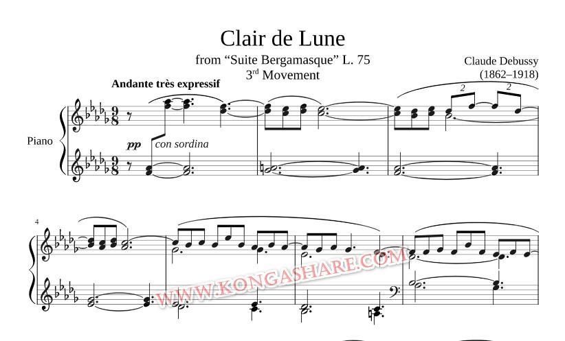 Clair de lune sheet music (Claude Debussy music score) in PDF and MP3
