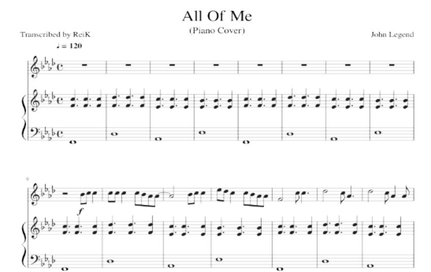 All Of Me piano sheet music (John Legend music score) in PDF