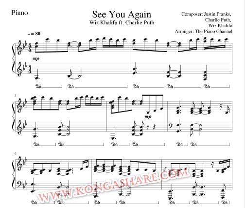 See You Again Piano sheet music