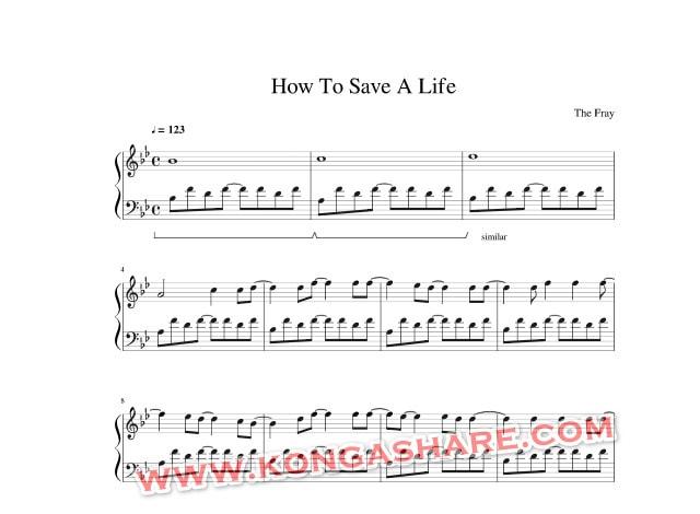 How to save a life piano sheet music_kongashare.com_mmn