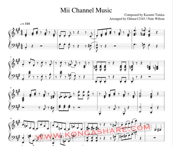 Mii channel sheet music (Kazumi Totaka music score) in PDF and MP3