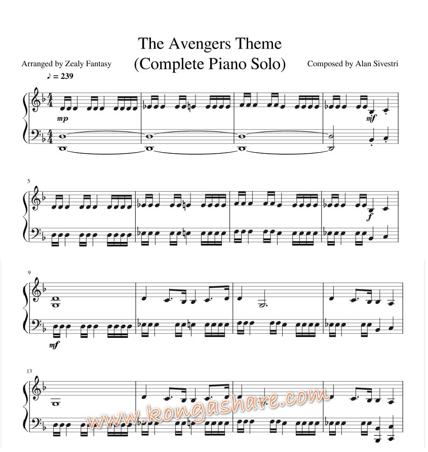 {filename}-Download Avengers Theme Piano Sheet Music By Alan Silvestri In Pdf