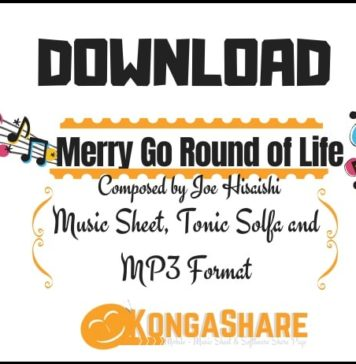 download Merry Go Round of Life - howl's moving castle sheet music in Pdf and MP3_kongashare.com_m-min