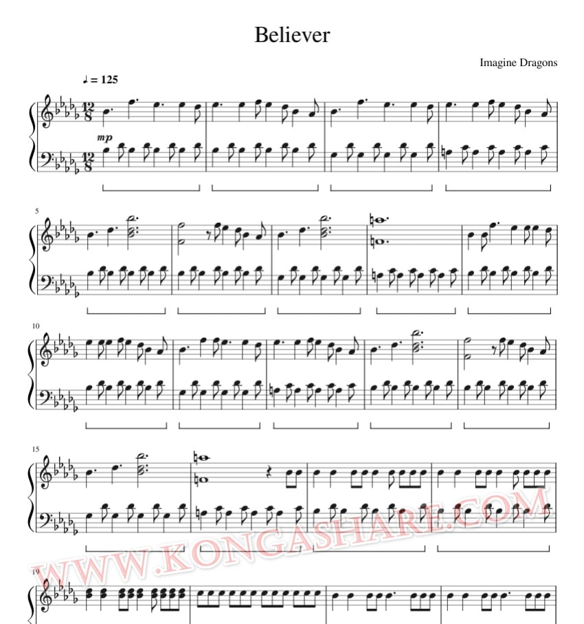 Imagine Dragons - Believer music sheet_kongashare.com_mb