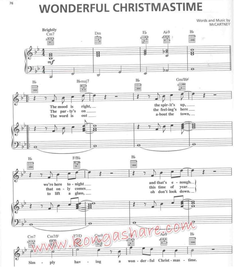 Wonderful Christmas Time sheet music_kongashare.com_mn