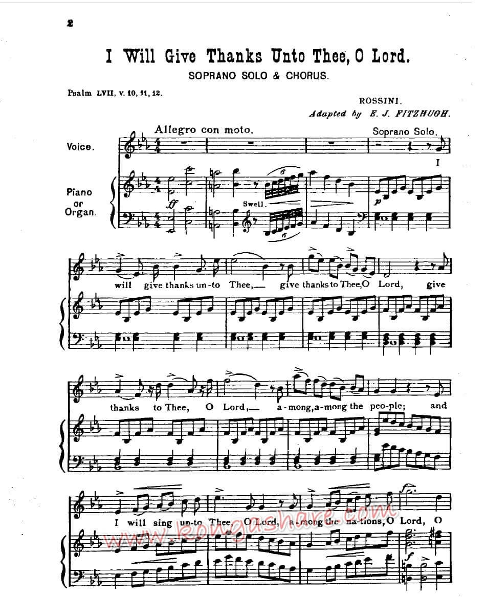I Will Give Thanks Unto Thee sheet music, O Lord by Rossini