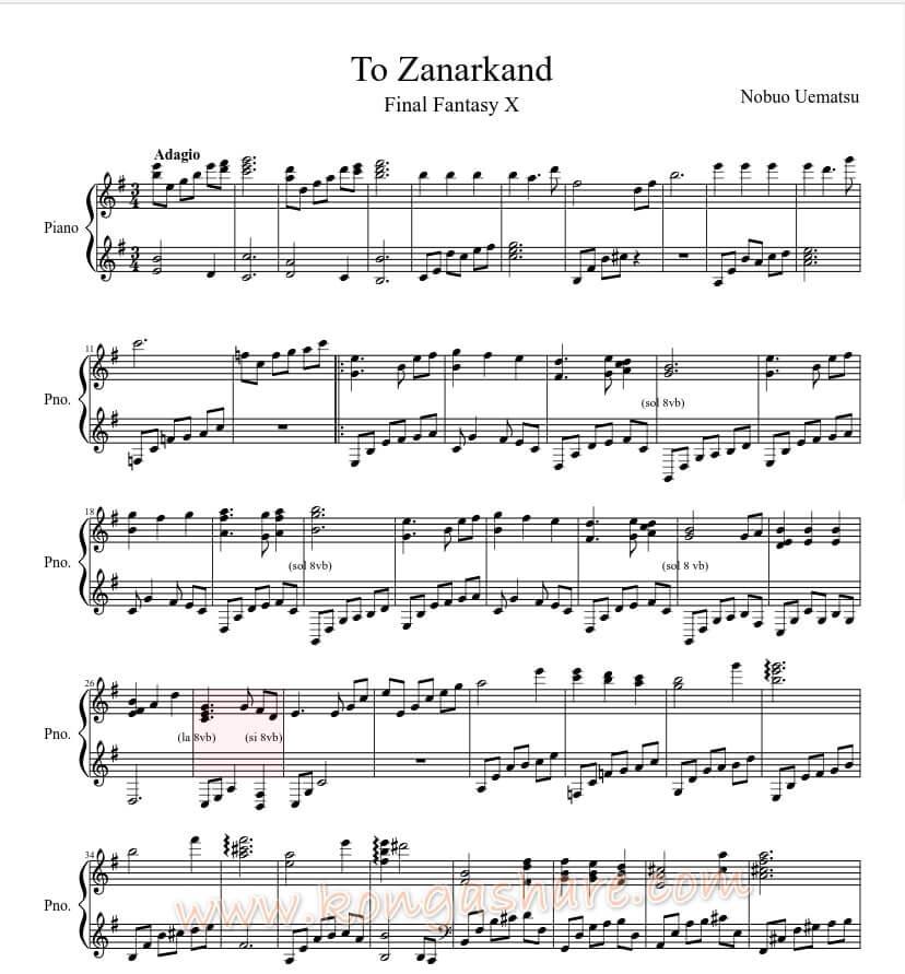 To Zanarkand sheet music - Final Fantasy X_kongashare.com_mmh