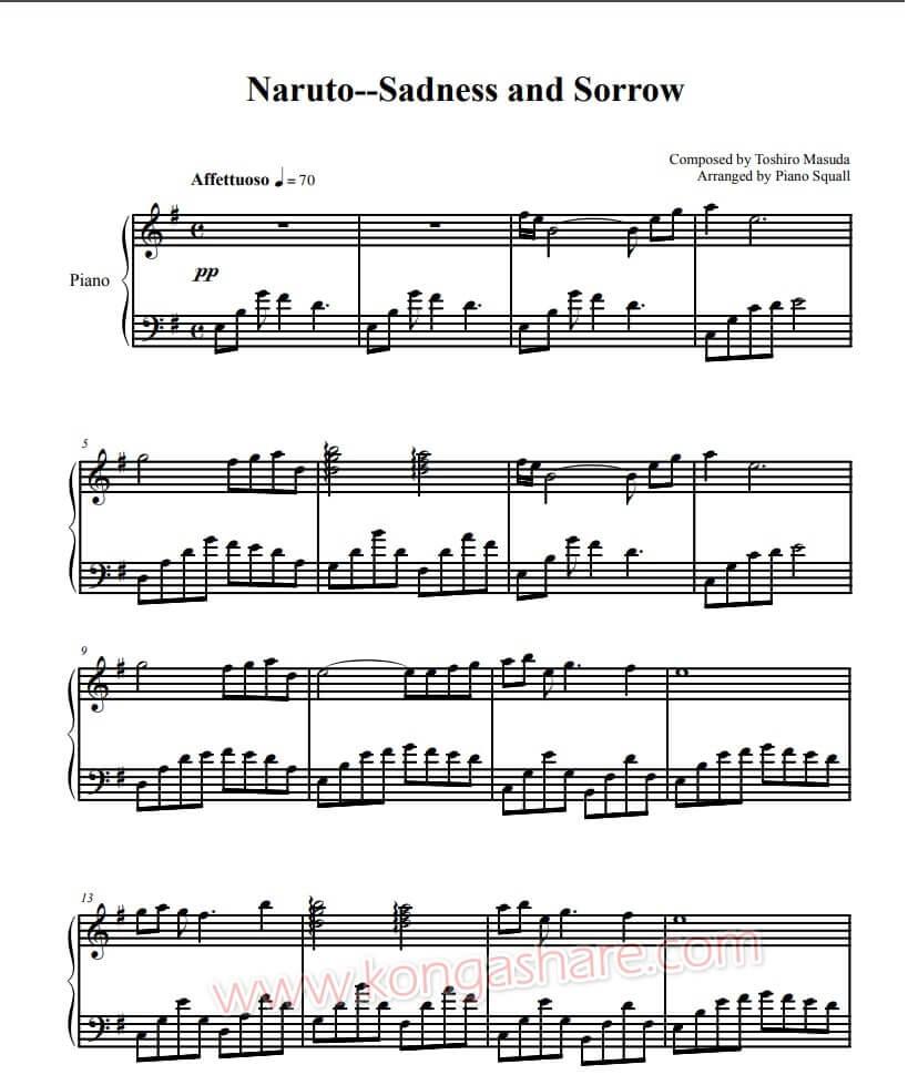 sadness and sorrow piano sheet music - naruto_kongashare.com_mm