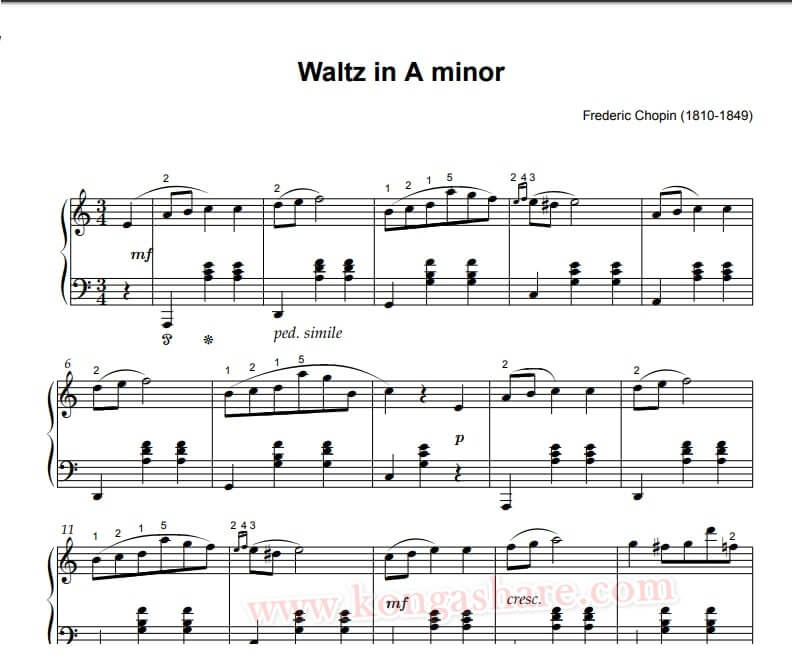 Waltz in A minor sheet music_kongashare.com_mmg