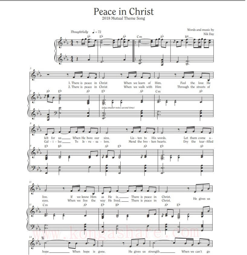 Peace In Christ sheet music - Mutual Theme Song by Nik Day_kongashare.com_mmhn