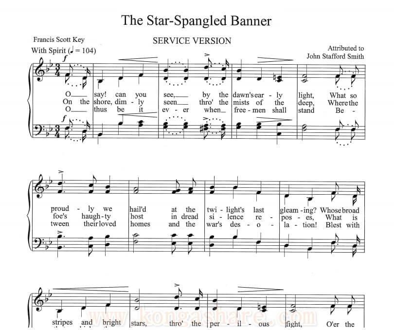 Star Spangled Banner sheet music_USA National Anthem_kongashare.com_music