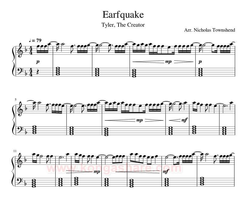 Earfquake Lyrics with Sheet Music for Piano