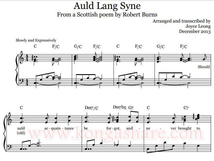 Auld Lang Syne piano sheet music_kongashare.com_mv