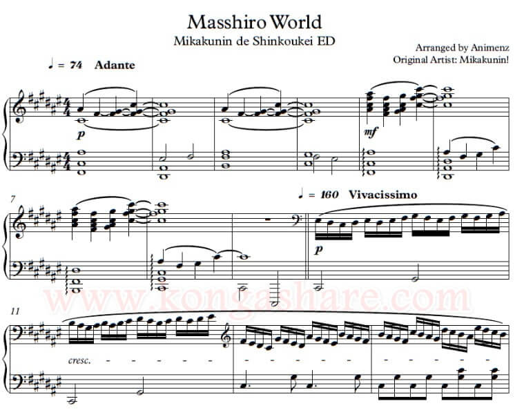 Masshiro World sheet music_kongashare.com_mv