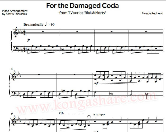 For The Damaged Coda sheet music_kongashare.com_c