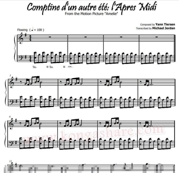Comptine d'un autre été sheet music_kongashare.com_mv