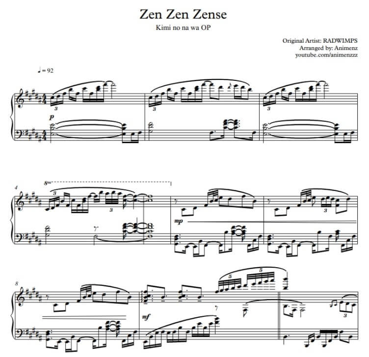 Zen Zen Zense Piano sheet music_kongashare.com_mv