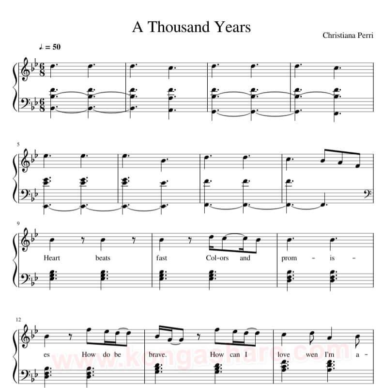 Christina Perri - A Thousand Years sheet music in PDF