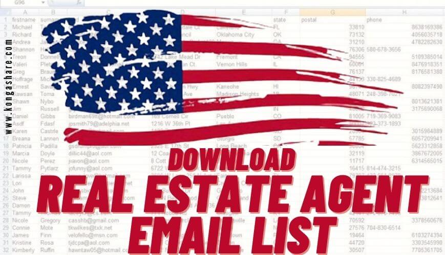 download free real estate agent email list_kongashare.com_mr