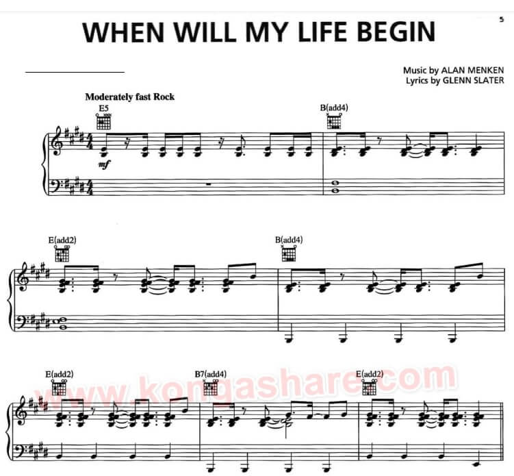 When Will My Life Begin Lyrics with sheet music_kongashare.com_mx