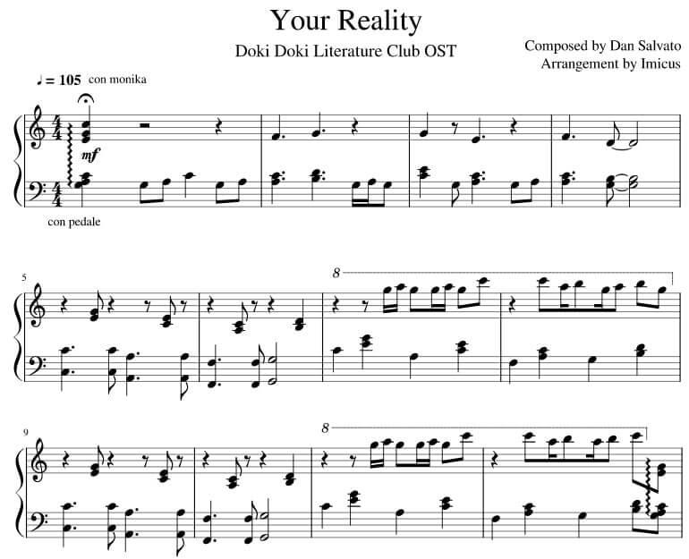 Doki Doki Literature Club Your Reality Piano sheet music midi