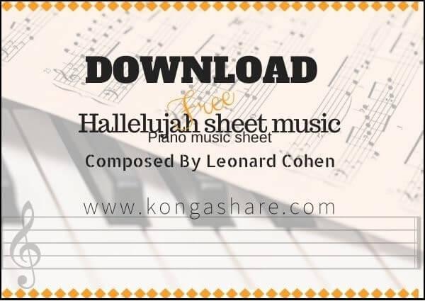 "Hallelujah ""Leonard Cohen"" Piano sheet music in PDF/Midi"
