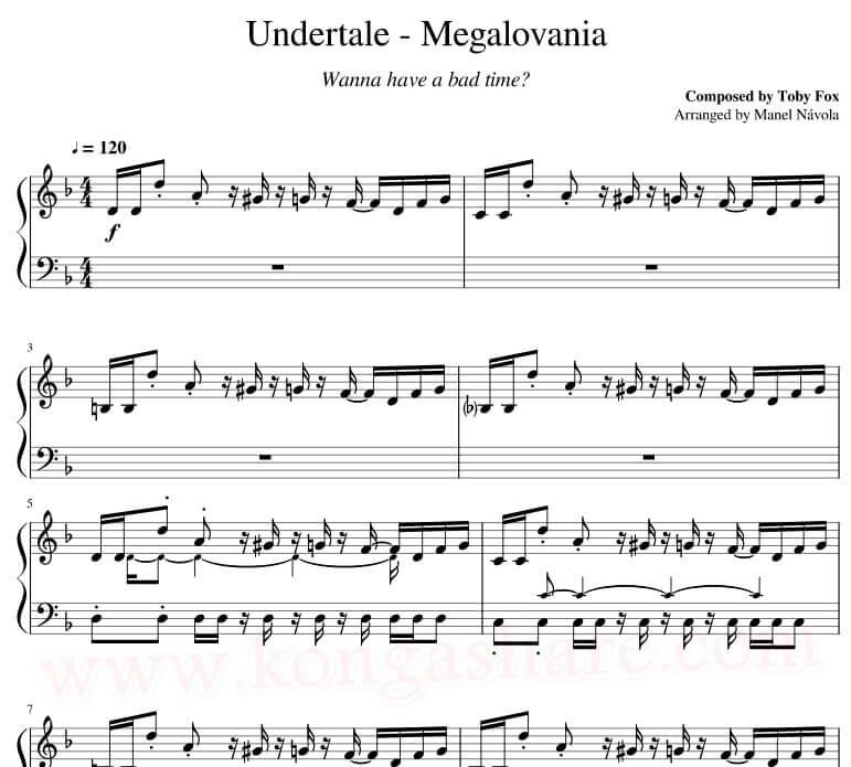 megalovania piano notes sheet music pdf mp3_kongashare.com_me