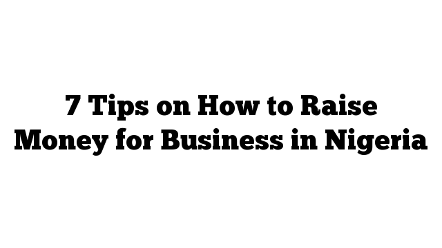 7 Tips on How to Raise Money for Business in Nigeria